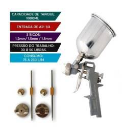 Pistola De Pintura Gravidade 1000ml com 3 Bicos 1.2 1.5 1.8