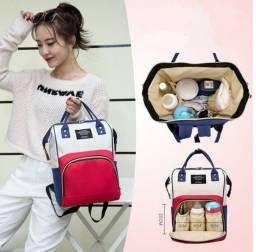 Bolsa mochila moda maternidade mae moderna em poliéste compartimento térmico
