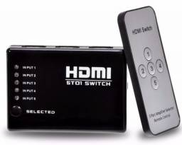 (NOVO) Hub Switch Hdmi 5 Portas Playstation Xbox Dvd Tv Lcd Led