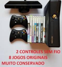 Xbox 360 Slim +2 Controles Sem Fio originais microsoft + 8 Jogos originais. Muito zero!