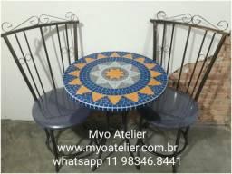 Moveis varanda, moveis sacada, conjunto de mesa mosaico