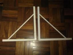 Par de mão-francesa de ferro branco - 50 cm