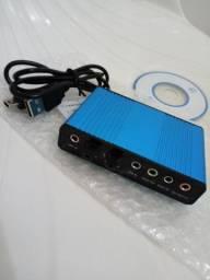 USB 6 Placa de som 5.1 canais de áudio óptica externa adaptador para PC Laptop Skype