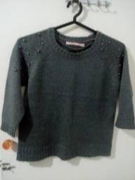 Blusa de lã cinza tamanho P com detalhes nova R$80,00