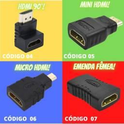 Adaptadores | Mini HDMI | Micro HDMI | Emenda hdmi Femea | HDMI 90 Graus 3D 2.0
