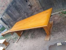 Mesa com 2 bancos madeira tatajuba