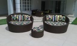 Chaise Livia em aluminio com almofadas
