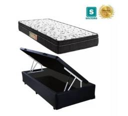 Cama Box  com baú solteiro + Colchão Molas bonnel 88 x 1,88 x 20 cm