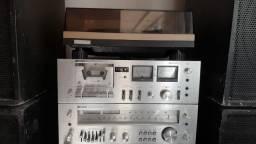 Som vintage Polyvox Receiver, deck, Toca discos e caixas