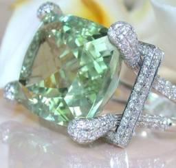 Moda Prata Natural Gemstone Prehnite Marca Anel Presentes de Jóias de Casamento