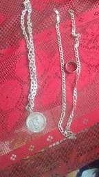 Cordões de prata 950 mais um anel