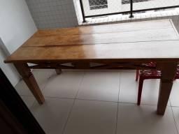 Mesa madeira maciça com bancos para varanda e área externa