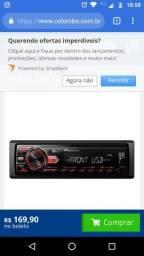 Radio piooner com Bluetooth e pendrive