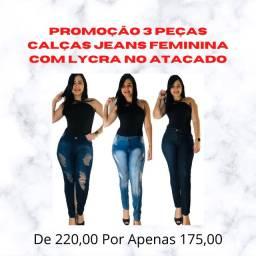 Promoção 3 Peças Calças Jeans Feminina Com Lycra No Atacado