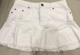 Saia Jeans Branca - Tam G - Marca Caos Denim Concept
