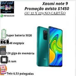 Xaomi note 9 lacrado 128 gb com 4 ram bateria 5020 ampere, aceito cartão