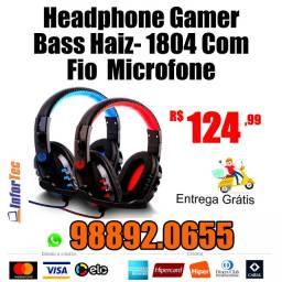 HeadPhone Gamer Bass Haiz - 1804 com Fio Microfone Entrega GRÁTIS