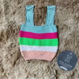 Cropped tricô colorido