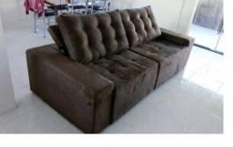 Título do anúncio: Sofá com assentos de mola , retrátil e almofadas de fibra de silicone - NOVO