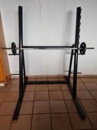 Rack Musculação + Barra + Par anilhas 10