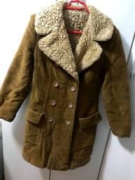 casaco/sobretudo veludo e pele importado