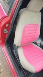 capas de banco caramelo e rosa  em couro sintetico