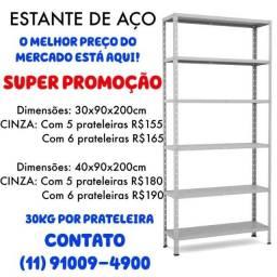 Estante/ Armário de Aço preta 30 cm 6 bandejas Multi-uso