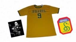 Kit Nacionalista Camiseta Seleção Brasileira Unissex + Foto plastificada Heróis do Brasil