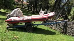 Barco inflável motor Yamaha 40, comandos e carreta - 1992