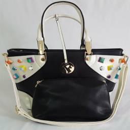 d29189597 Bolsa Feminina Kit 2 Bolsas Fashion Tiracolo Com Apliques