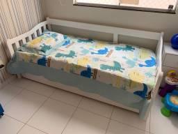 Cama babá com cama auxiliar - Madeira maciça