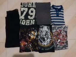 Lote 6 camisas e uma calça