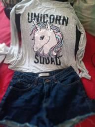 Look blusa e shorts tamanho 10