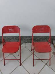 Par de cadeiras antigas de lata - Coca cola