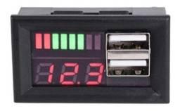 Voltímetro Digital Com 2 Saídas Usb Indicador De Carga Auto
