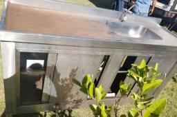 Pia balcão gabinet em aço inox