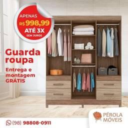 Guarda Roupa Casal 6 Portas 4 Gavetas! ? Promoção de R$999.99 por apenas R$900