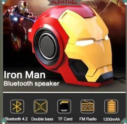 Caixa bluetooth do homem de ferro, com entrada para cartão micro sd