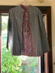 Casaco reversível de lã estilo oriental