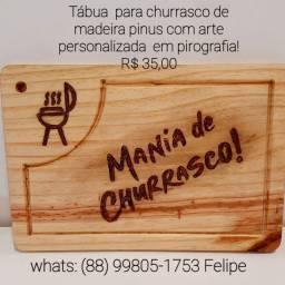 Tábua para churrasco de madeira pinus com arte personalizada em pirografia !!!