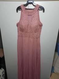 Vestido longo madrinha de casamento  rosê