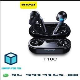Awei T10C TWS - Fone de Ouvido Bluetooth 5.0 - Atualizado 2020 - Android e iOS