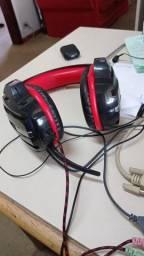 Vendo headset gamer multilaser preto / vermelho com adaptador