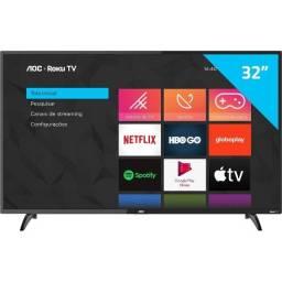 Smart TV AoC Roku LED 32'' 32S5195/78 com Wi-fi, Entradas HDMI e USB Lacrada