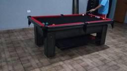 Mesa Charme Redinha   Mesa Imbuia   Tecido Preto   Borda Vermelha   Modelo: JVOL9321