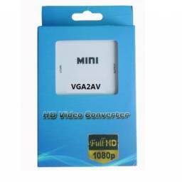 Conversor de Áudio e Vídeo VGA P2 para AV Rca VGA2AV