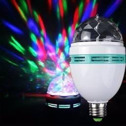 Lâmpada de LED Colorida Rotativa Giratória Bola Maluca Festa
