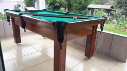 Mesa Tentação de Sinuca e Bilhar Cor Imbuia Tecido Verde Mod. BARU6247