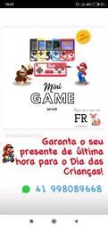 Mini game retrô portátil 400 jogos presente crianças