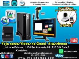 Sistema completo + PC completo + monitor + impressora térmica + leitor de código